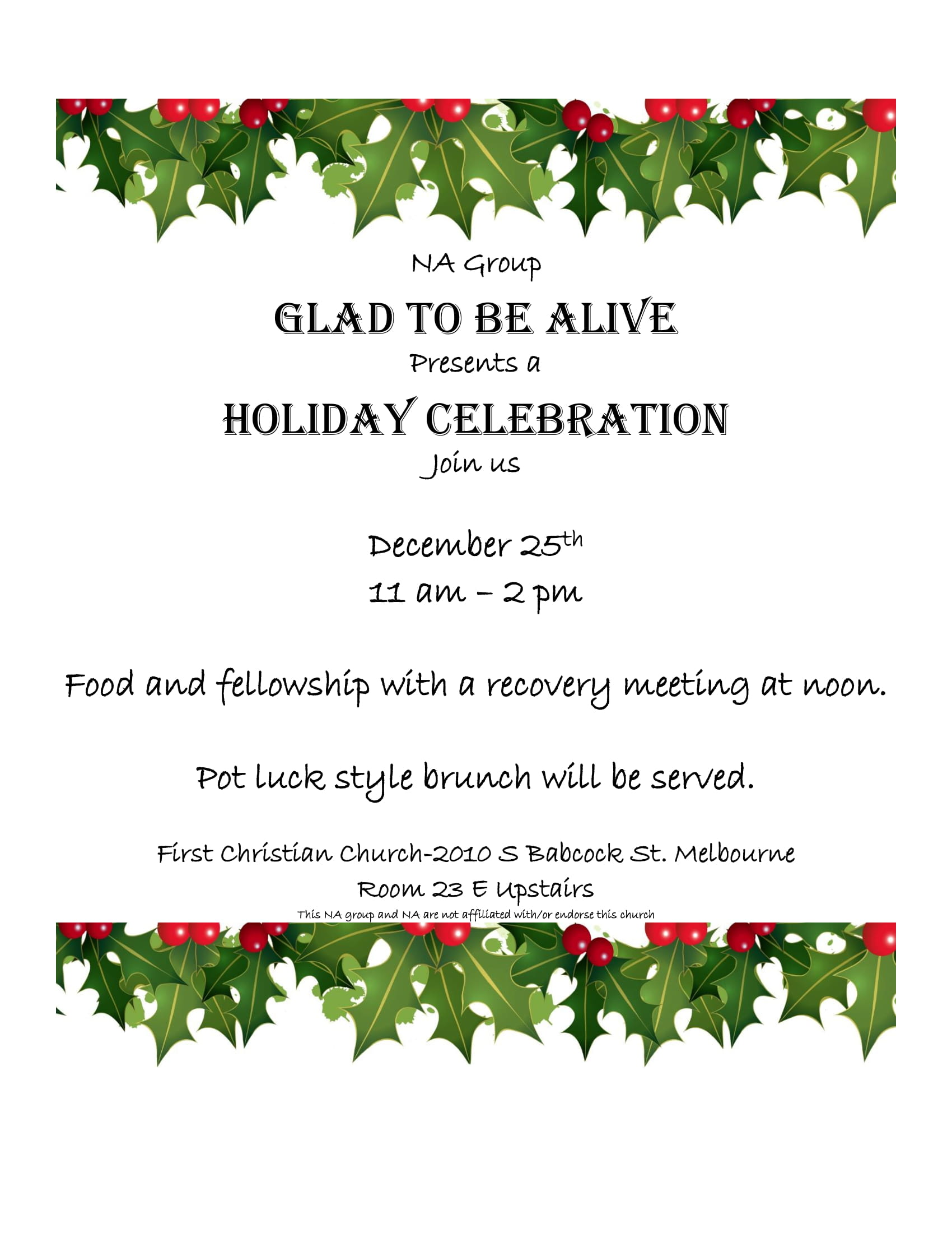 Glad To Be Alive Presents A Holiday Celebration @ First Christian Church