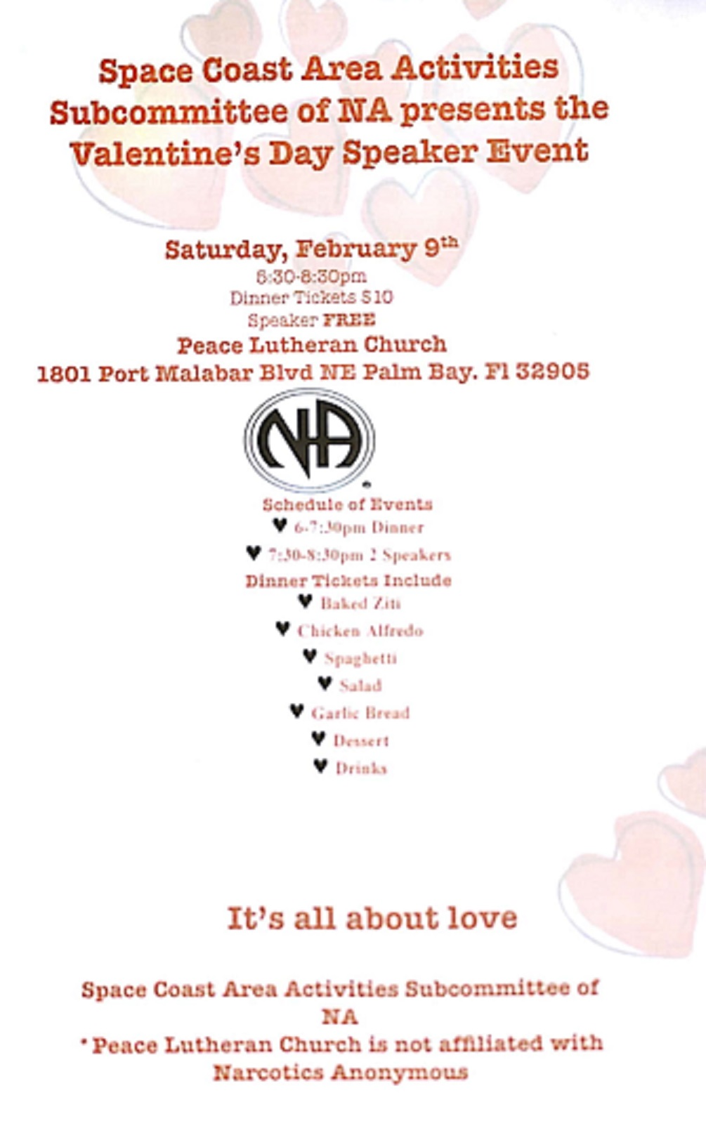 Activities Subcommittee Valentine's Day Speaker Event @ Peace Lutheran Church