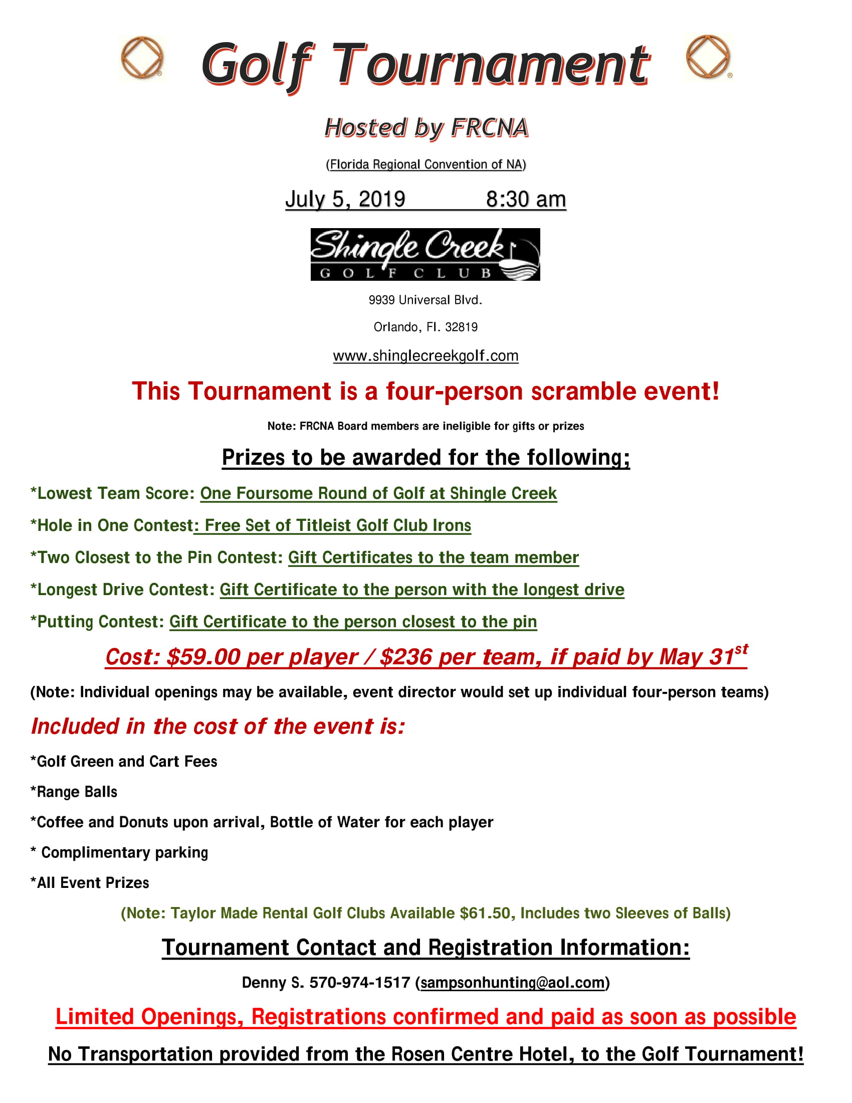 FRCNA Golf Tournament (see flyer) @ Shingle Creek Golf Club | Orlando | Florida | United States