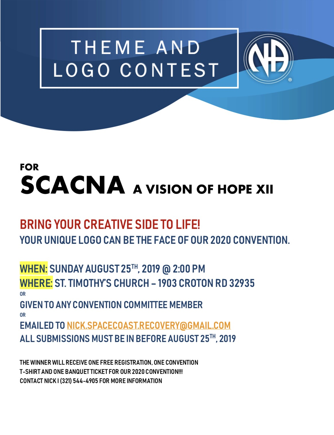 SCACNA Theme and Logo Contest @ St.Timothy's Church | Melbourne | Florida | United States